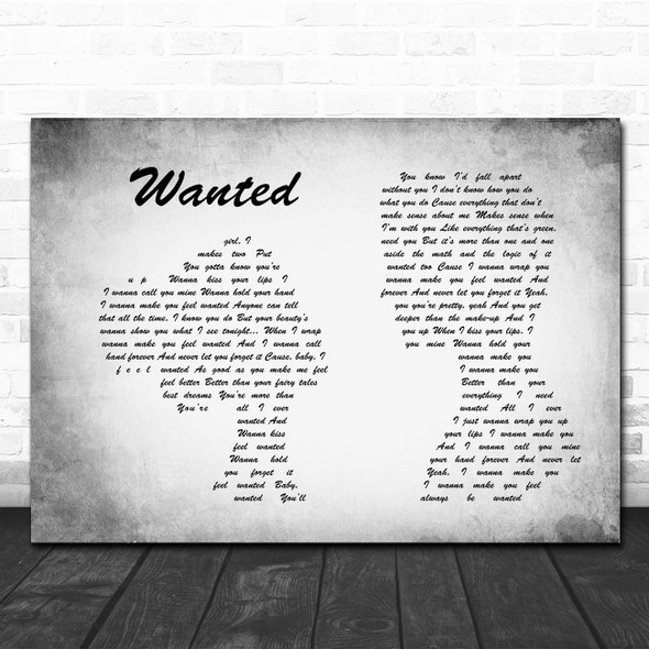 Hunter Hayes Wanted Man Lady Couple Grey Song Lyric Print