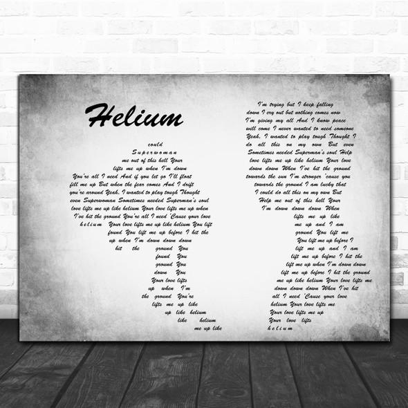 Sia Helium Grey Man Lady Couple Song Lyric Print