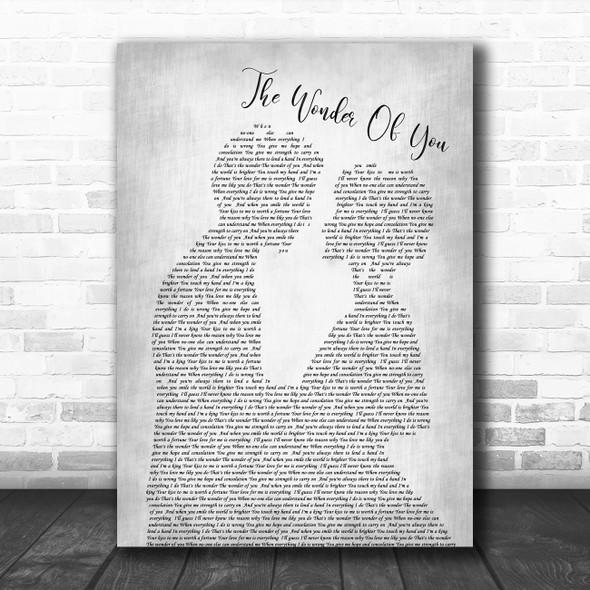 Elvis Presley The Wonder Of You Man Lady Bride Groom Wedding Grey Song Print