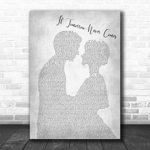 Garth Brooks If Tomorrow Never Comes Man Lady Bride Groom Grey Song Lyric Print