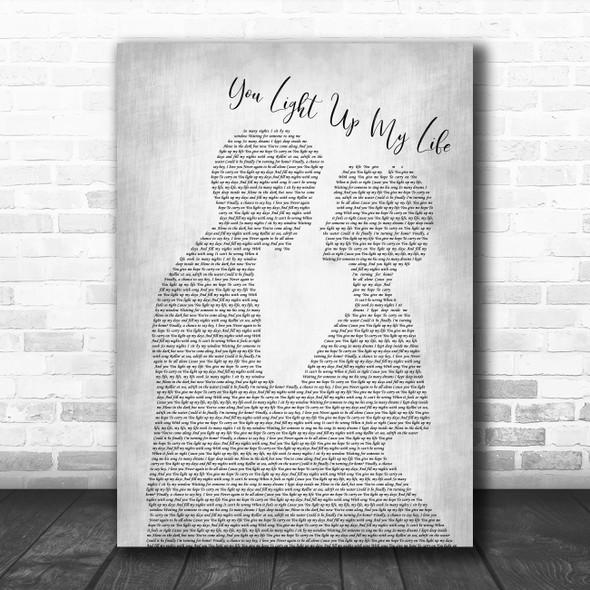 Whitney Houston You Light Up My Life Man Lady Bride Groom Grey Song Lyric Print