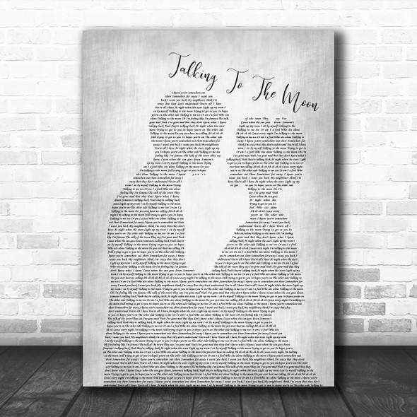 Bruno Mars Talking To The Moon Grey Man Lady Bride Groom Wedding Song Print