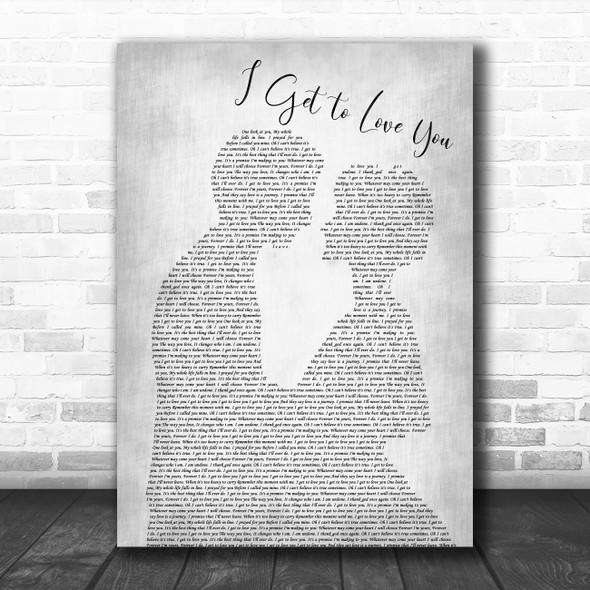 Ruelle I Get to Love You Grey Man Lady Bride Groom Wedding Song Lyric Print