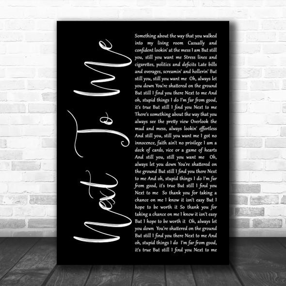 Imagine Dragons Next To Me Black Script Song Lyric Music Wall Art Print