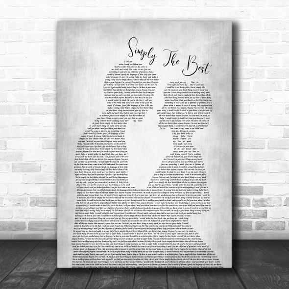James Bay Simply The Best Grey Man Lady Bride Groom Wedding Song Lyric Print