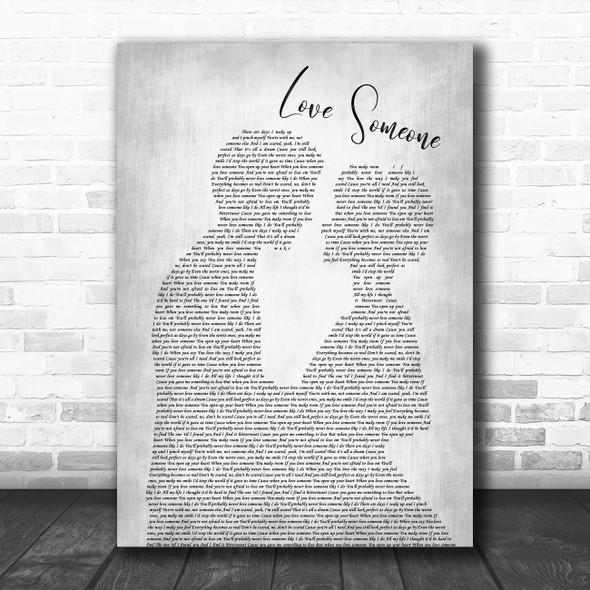 Lukas Graham Love Someone Man Lady Bride Groom Wedding Grey Song Lyric Print