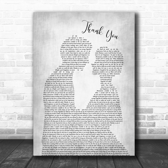 Led Zeppelin Thank You Grey Song Lyric Man Lady Bride Groom Wedding Print
