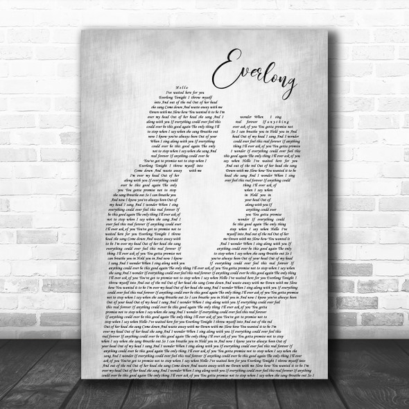 Foo Fighters Everlong Grey Song Lyric Man Lady Bride Groom Wedding Print
