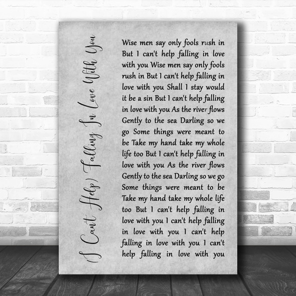 UB40 (I Can't Help) Falling In Love With You Rustic Script Grey Song Lyric Print