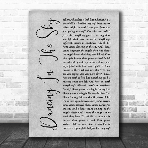 Dani And Lizzy Dancing In The Sky Rustic Script Grey Song Lyric Quote Print