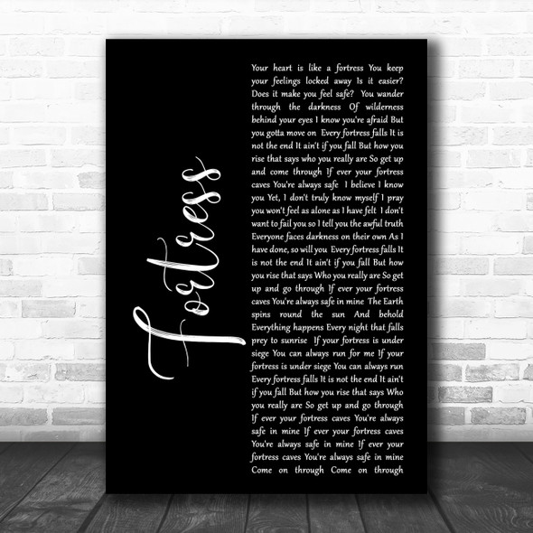 Queens of the Stone Age Fortress Black Script Song Lyric Music Wall Art Print