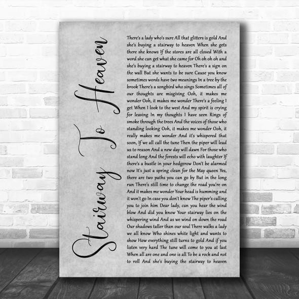 Led Zeppelin Stairway To Heaven Grey Rustic Script Song Lyric Print
