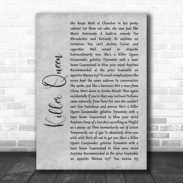 Queen Killer Queen Rustic Script Grey Song Lyric Quote Print