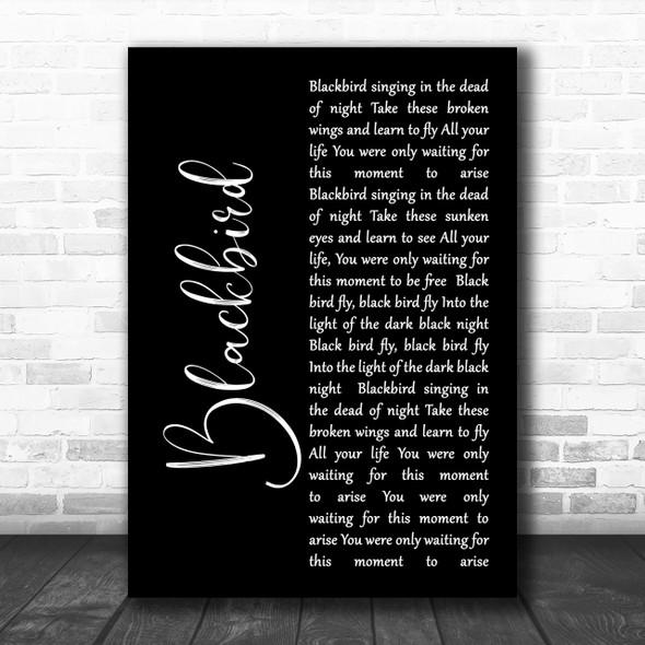 The Beatles Blackbird Black Script Song Lyric Music Wall Art Print