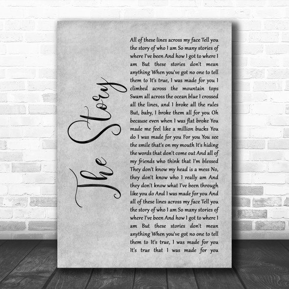 Brandi Carlile The Story Rustic Script Grey Song Lyric Print