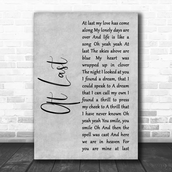Beyonce At Last Grey Rustic Script Song Lyric Print