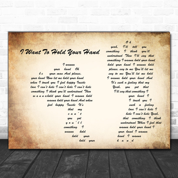 The Beatles I Want To Hold Your Hand Man Lady Couple Song Lyric Print