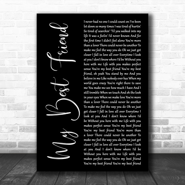 Tim McGraw My Best Friend Black Script Song Lyric Music Wall Art Print