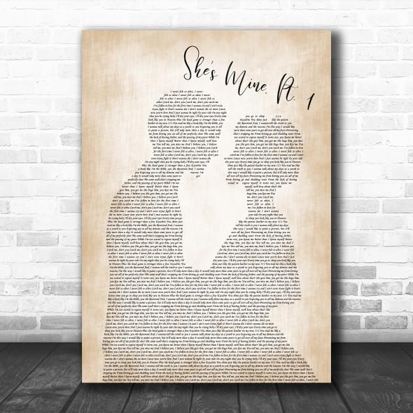 J. Cole She's mine, Pt. 1 Man Lady Bride Groom Wedding Song Lyric Print