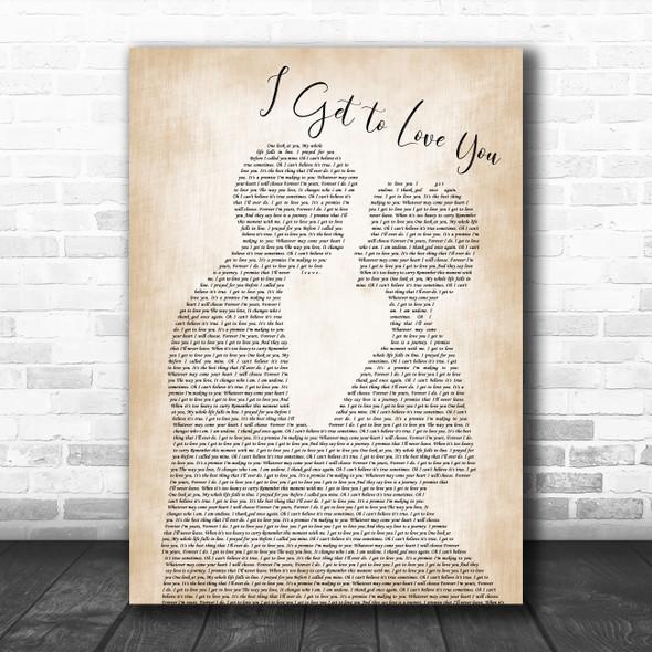 Ruelle I Get to Love You Man Lady Bride Groom Wedding Song Lyric Print