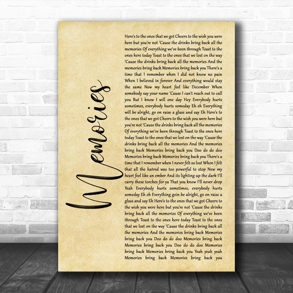 Maroon 5 Memories Rustic Script Song Lyric Print