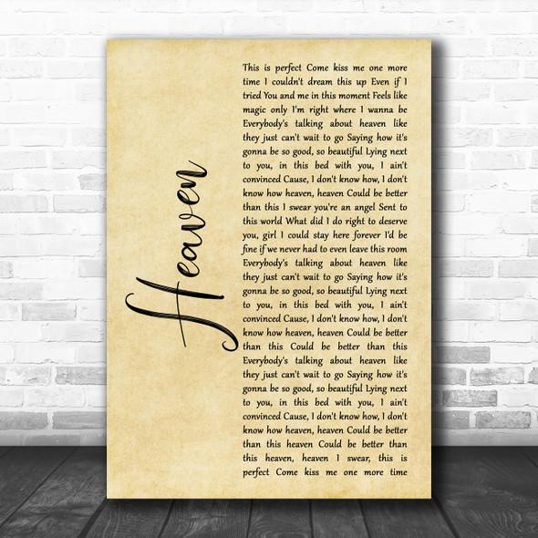 Kane Brown Heaven Rustic Script Song Lyric Print