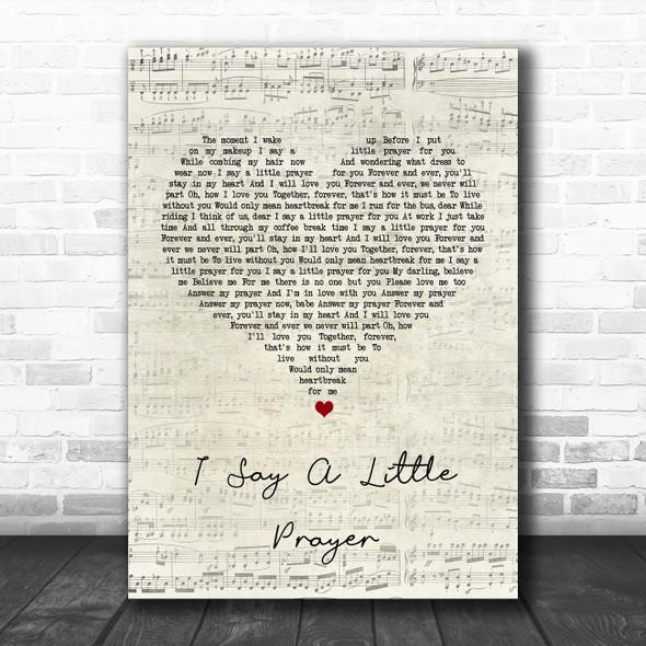 Aretha Franklin I Say A Little Prayer Script Heart Song Lyric Print