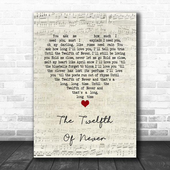 JOHNNY MATHIS The Twelfth Of Never Script Heart Song Lyric Print