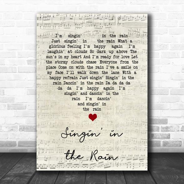 Gene Kelly Singin' in the Rain Script Heart Song Lyric Print