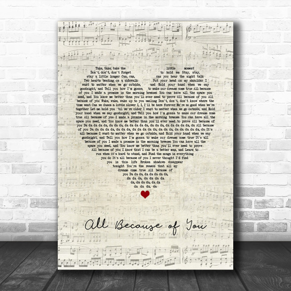 O.A.R. All Because of You Script Heart Song Lyric Print