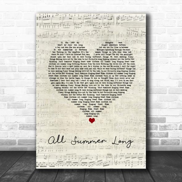 Kid Rock All Summer Long Script Heart Song Lyric Print