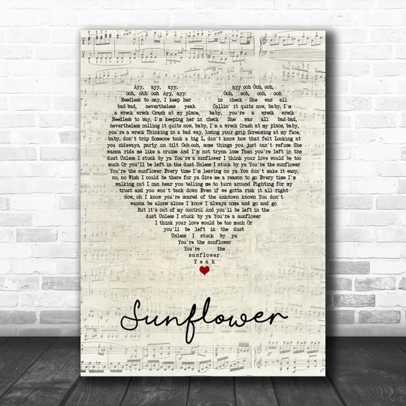 Post Malone & Swae Lee Sunflower Script Heart Song Lyric Print