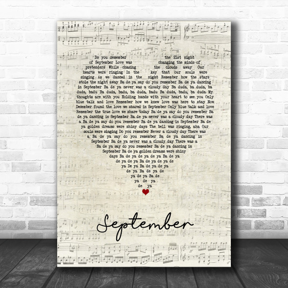 Earth, Wind And Fire September Script Heart Song Lyric Print
