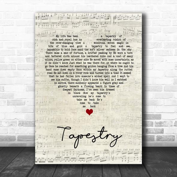 Carole King Tapestry Script Heart Song Lyric Print