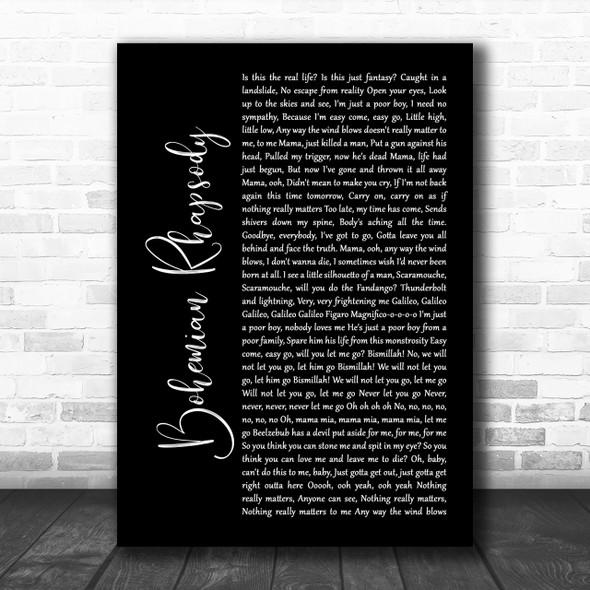 Queen Bohemian Rhapsody Black Script Song Lyric Music Wall Art Print
