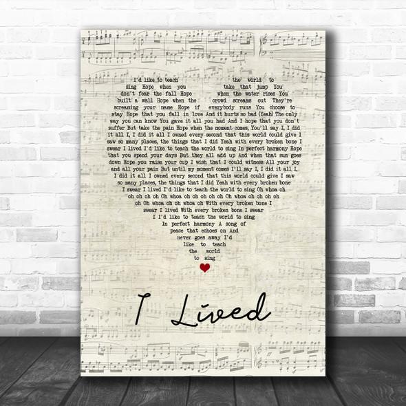 OneRepublic I Lived Script Heart Song Lyric Print