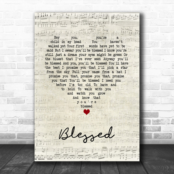 Elton John Blessed Script Heart Song Lyric Print