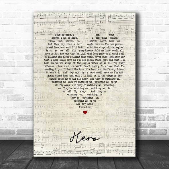 Nickelback Hero Script Heart Song Lyric Print