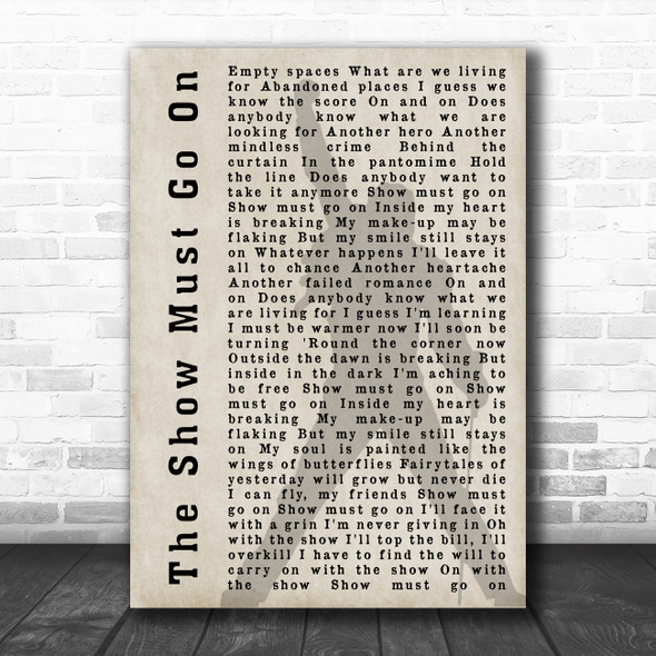 Queen The Show Must Go On Silhouette Shadow Song Lyric Print