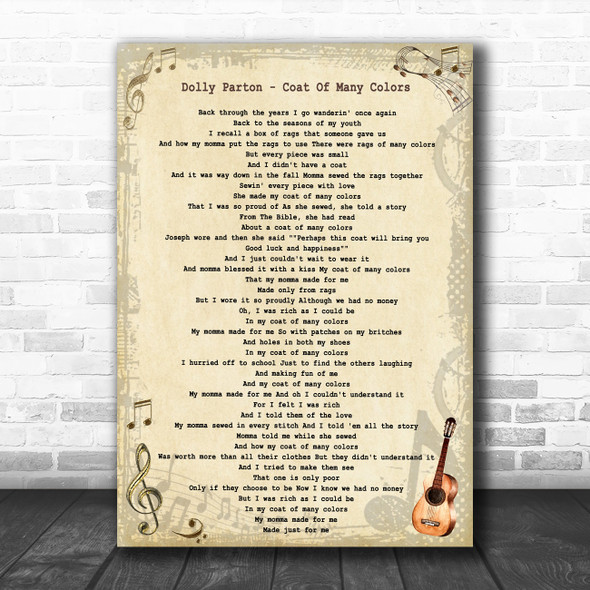 Dolly Parton Coat Of Many Colors Vintage Guitar Song Lyric Print