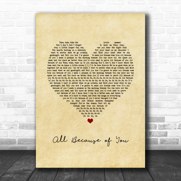 O.A.R. All Because of You Vintage Heart Song Lyric Print