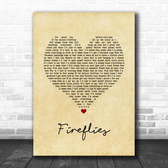 Owl City Fireflies Vintage Heart Song Lyric Print