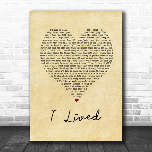 OneRepublic I Lived Vintage Heart Song Lyric Print