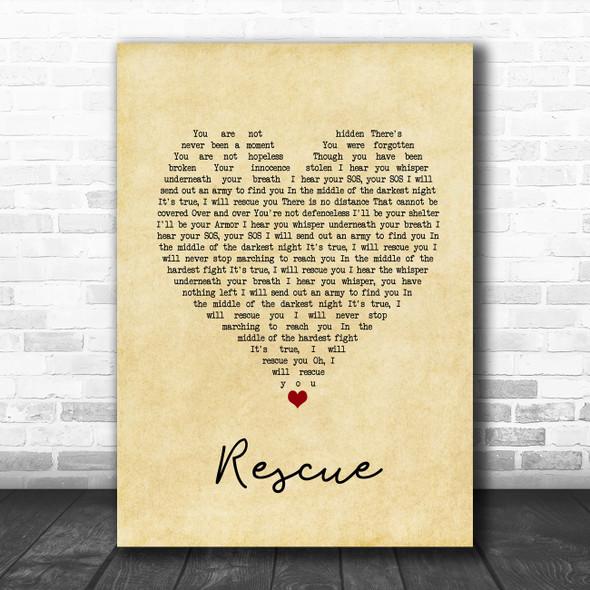 Lauren Daigle Rescue Vintage Heart Song Lyric Print