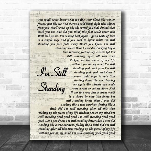 Elton John I'm Still Standing Vintage Script Song Lyric Print