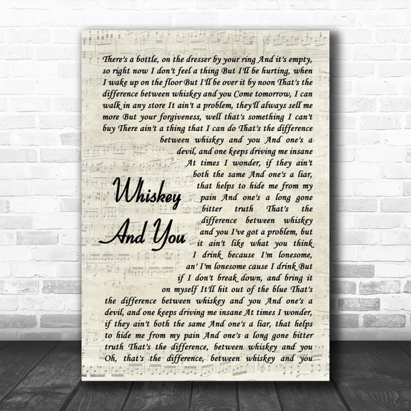 Aaron Lewis Whiskey And You Vintage Script Song Lyric Print