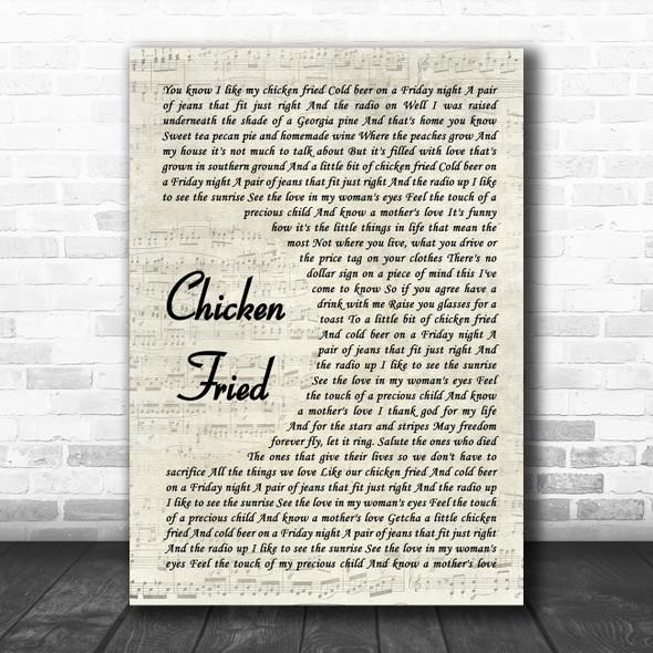 Zac Brown Band Chicken Fried Vintage Script Song Lyric Print