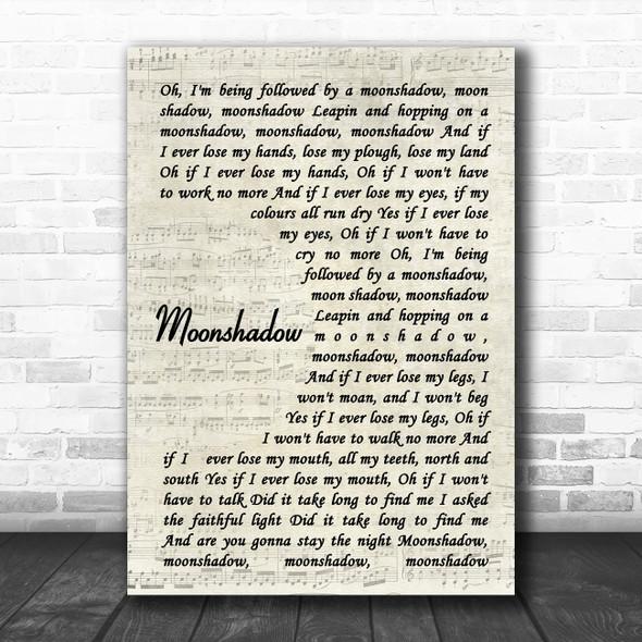 Cat Stevens Moonshadow Vintage Script Song Lyric Print