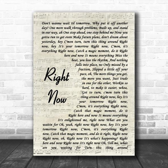 Van Halen Right Now Vintage Script Song Lyric Print