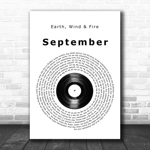 Earth, Wind & Fire September Vinyl Record Song Lyric Print